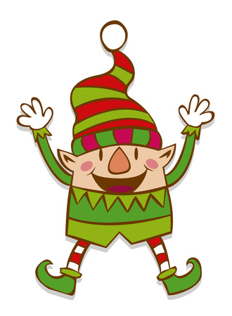 Vector Cute Christmas Elf Isolated On White Background