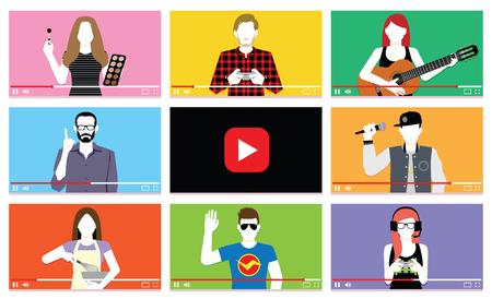 Vector Set de povos diferentes na internet vídeos Ilustração