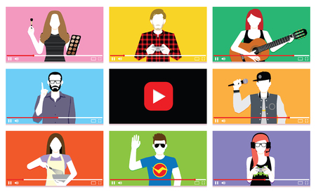 Vector Set Of Different People On Internet Videos Illustration