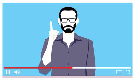 Giovane uomo che parla sul video di Internet