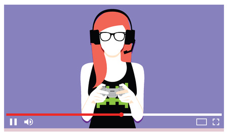 Vector Young Woman Playing Videogames On Video