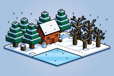 Vector Isometric Winter Forest Scene Isolated Illustration