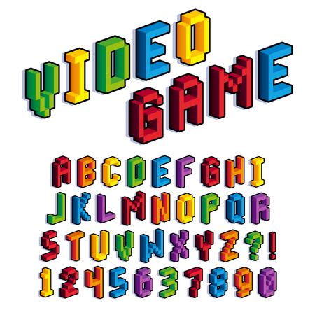 Vector Isométrica 3D De Píxeles De Alfabeto Y Los Números