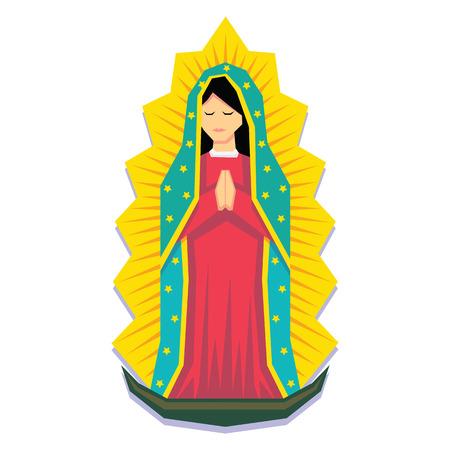 Vector Virgin Of Guadalupe Geïsoleerd Op Een Witte Achtergrond Vector Illustratie