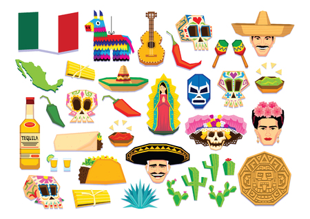 pinata: Vector Set Of Mexican Elements Isolated On White Background