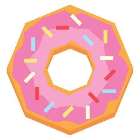 Vector Cartoon Donut Isolated On White Background Stock Photo