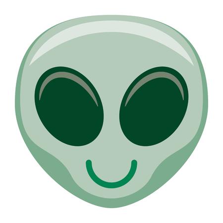 Vector Cartoon Alien Emoji Isolated On White Background