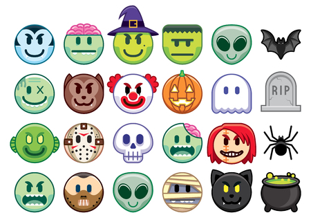 Vector Set Of Halloween Emojis Isolated On White Background