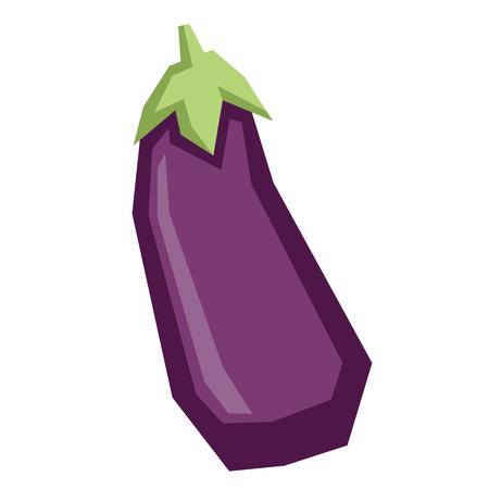 Vector Cartoon Eggplant Isolated On White Background