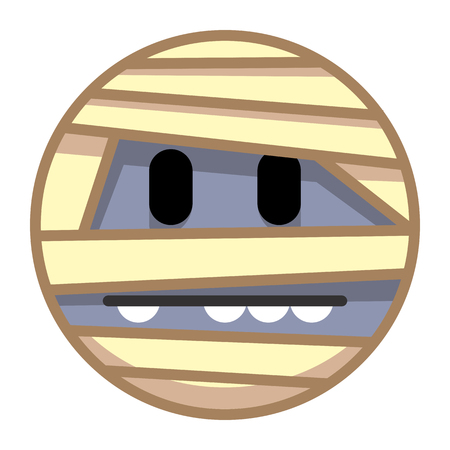 Vector de dibujos animados momia emoji aislado sobre fondo blanco Foto de archivo - 91964793