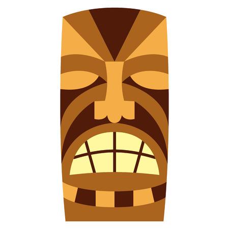 Vector Cartoon Tiki Idol Isolated On White Background Stok Fotoğraf