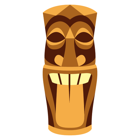 Vector Cartoon Tiki Idol Isolated On White Background Banque d'images