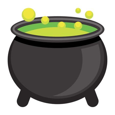 Vector Cartoon Cauldron Icon Isolated On White Background