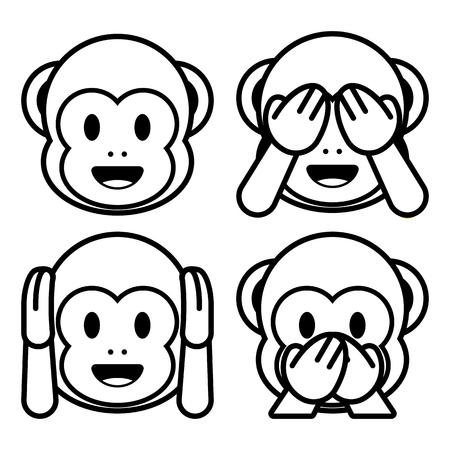 Vector Emoji Monkeys Set Isolated On White Background