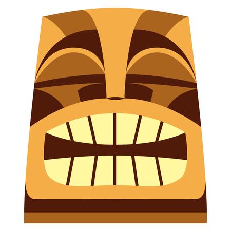 Vectorbeeldverhaal Tiki Idol Isolated op Witte Achtergrond