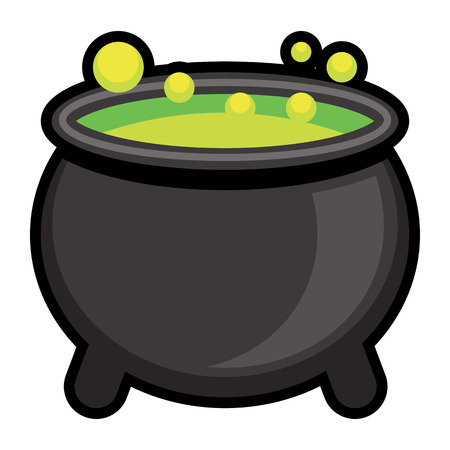 Vector Cartoon Cauldron Icon Isolated On White Background