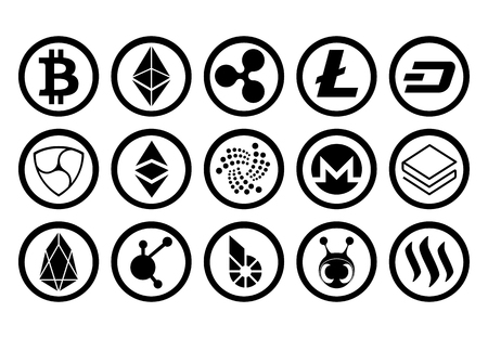 Vector Set Of Cryptocurrency Icons On Coins Isolated