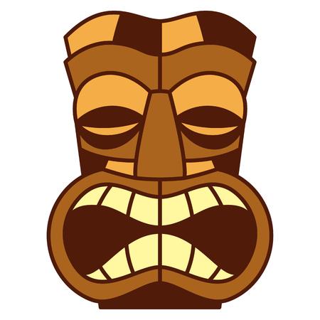 Vectorbeeldverhaal Tiki Idol Isolated op Witte Achtergrond Stockfoto - 91854979