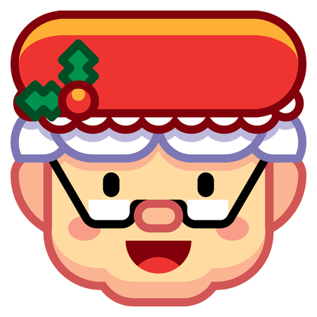 Vector Cartoon Mrs. Claus Icon Isolated On White Background Ilustração