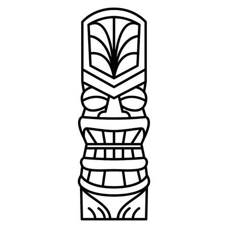 Vector Cartoon Tiki Idol Isolated On White Background  イラスト・ベクター素材