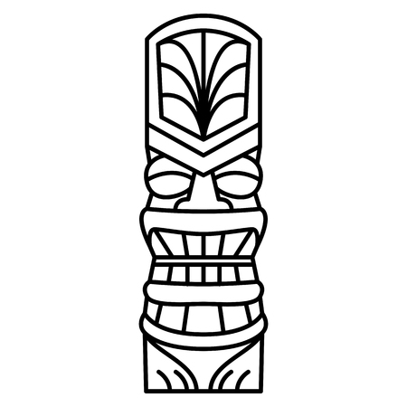 Vector Cartoon Tiki Idol Isolated On White Background Иллюстрация