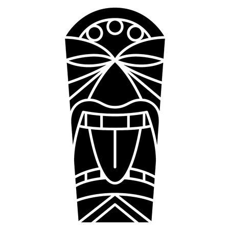 Vector Cartoon Tiki Idol Isolated On White Background Illustration