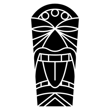 Vector Cartoon Tiki Idol Isolated On White Background Ilustração