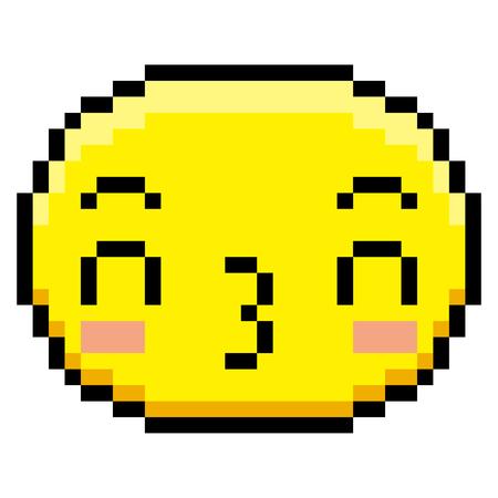 Vector Pixel Cartoon Kissing Face