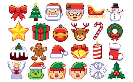 Vector Set Van Kerst Emoji's Geïsoleerd Op Een Witte Achtergrond Vector Illustratie