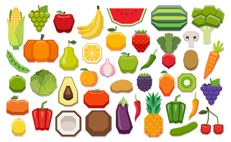 Vector Set Of Fuits And Vegetables Isolated On White Background Illustration