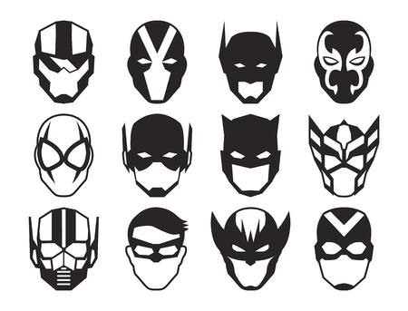 A Vector Cartoon Hero Masks Isolated On White Background 矢量图像