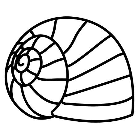 白い背景に隔離されたベクトルシーカタツムリ