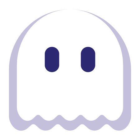 A Vector Cartoon Ghost Emoji Isolated On White Background