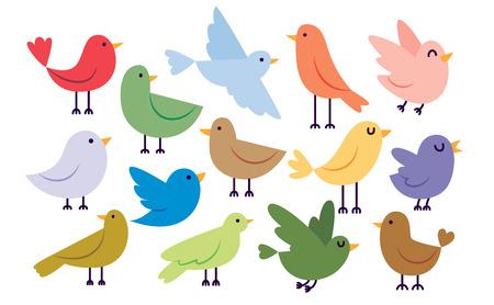 Conjunto De Pássaros Bonitos Dos Desenhos Animados Isolado No Fundo Branco