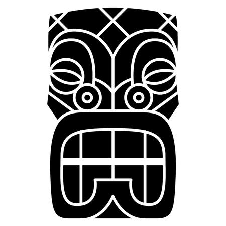 A Vector Cartoon Tiki Idol Isolated On White Background Illustration
