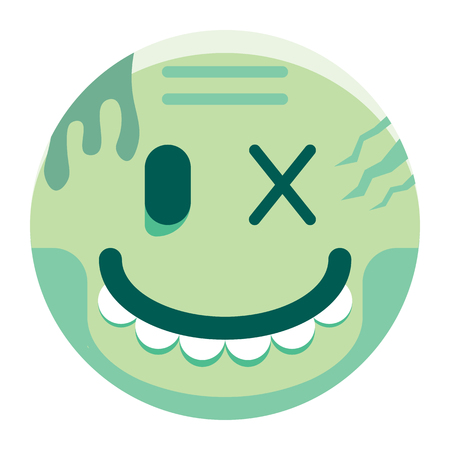 A Vector Cartoon Zombie Emoji Isolated On White Background