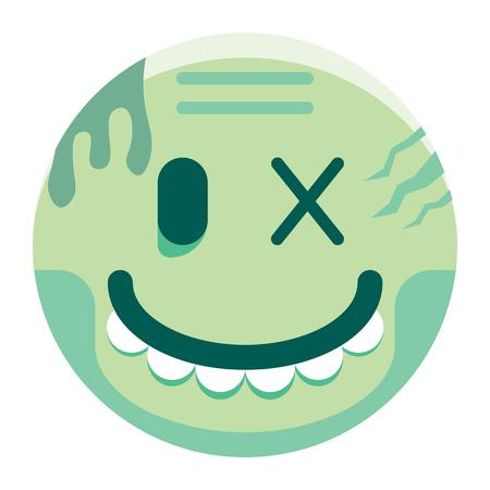 Un vector de dibujos animados Zombie Emoji aislado sobre fondo blanco Foto de archivo - 91859588