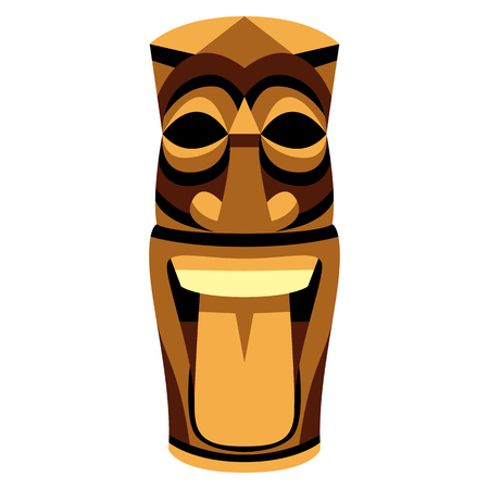 A Vector Cartoon Tiki Idol Isolated On White Background Illusztráció