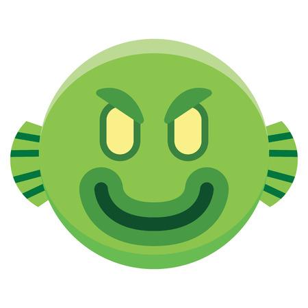 Ilustracja kreskówka zielony potwór.