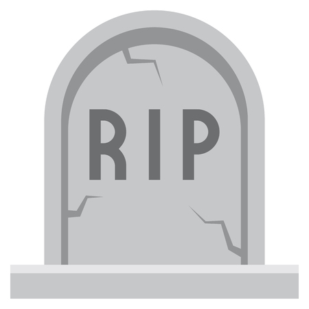 A Vector Cartoon Tombstone Icon Isolated On White Background Illustration