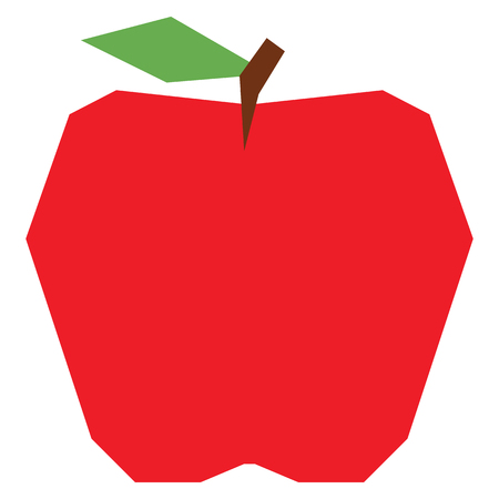 A Vector Cartoon Apple Isolated On White Background Illustration