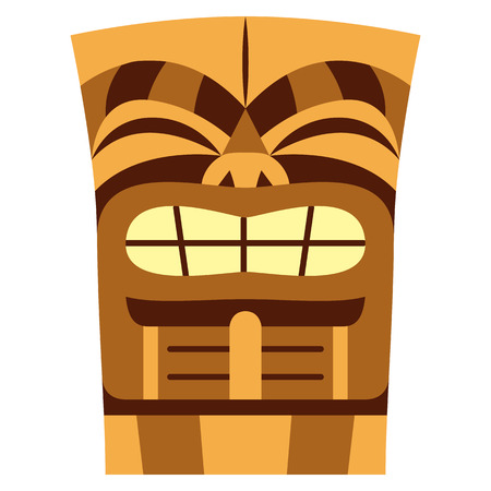 Vector cartoon tiki idol isolated on white background