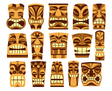 Vector set of different tiki Idols isolated on white background