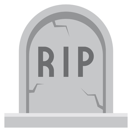 Vector Cartoon Tombstone Icon Isolated On White Background Stock Photo