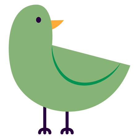 Vector Cartoon Cute Bird Isolated On White Background Stock Photo