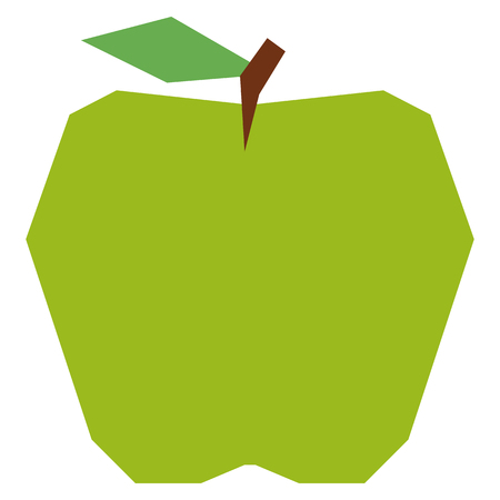 Vector Cartoon Green Apple Isolated On White Background