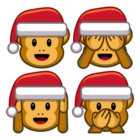 Vector Set Of Christmas Monkeys Isolated On White Background  イラスト・ベクター素材