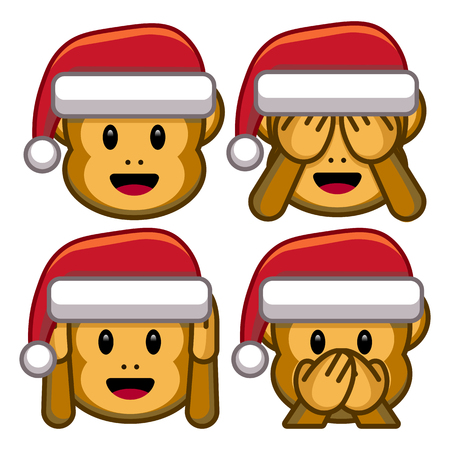 Vector Set Of Christmas Monkeys Isolated On White Background Иллюстрация