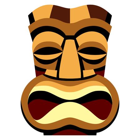 Een Vectorbeeldverhaal Tiki Idol Geïsoleerd Op Witte Achtergrond