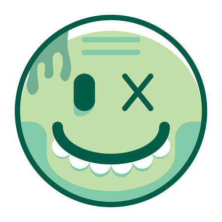 Vector de dibujos animados Zombie Emoji aislado sobre fondo blanco Foto de archivo - 91855585